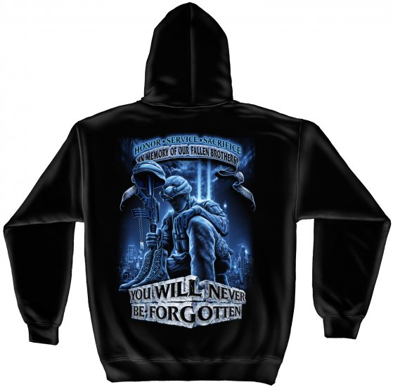 Hooded Sweat Shirt Never Forget Fallen Soldier