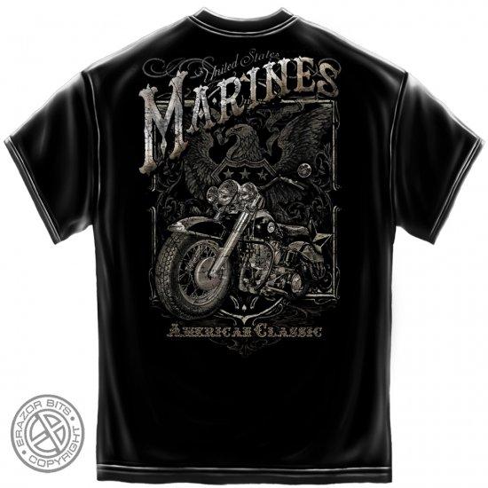 Marines Biker American Classic Black Silver Foil