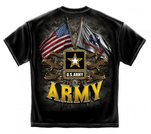 Army Double Flag Us Army Black