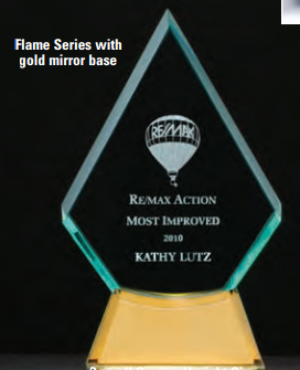 "OCTG2619 - 5-1/8"" x 8-7/8"" Flame Series Glass Award"