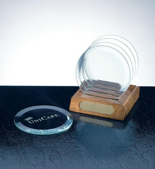 OCPRGH003 - Circle Glass Coaster Set and Wood Base
