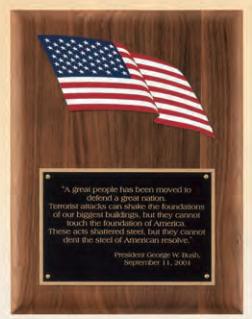 "OCTP3938 - 8"" x 10-1/2"" American flag plaque"