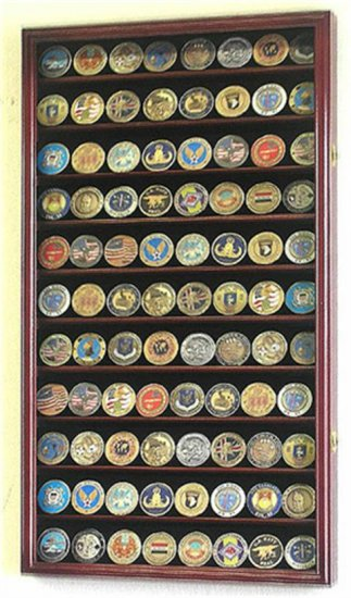 88 Challenge Coin Cherry Display Case Cabinet w/ UV Acrylic Door