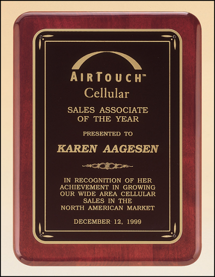 7 X 9 Rosewood stained finish plaque w/ gloss black border