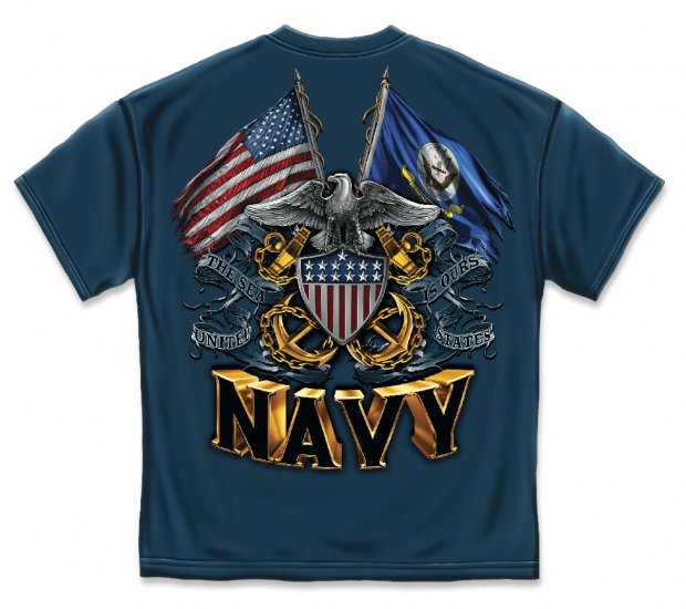 Double Flag Eagle Navy Shield Navy Blue