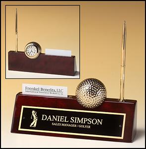 OCTBC525 - Piano Finish Golf Desk Wedge and Clock