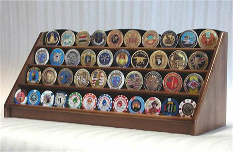 4 Row Coin Display Rack Walnut