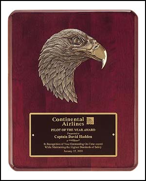 "OCTP3754 - 10-1/2"" x 13"" Piano Finish Bronze Eagle Plaque"