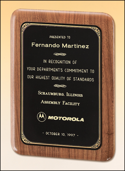 9 X 12 Solid American walnut plaque w/ a brushed brass plate