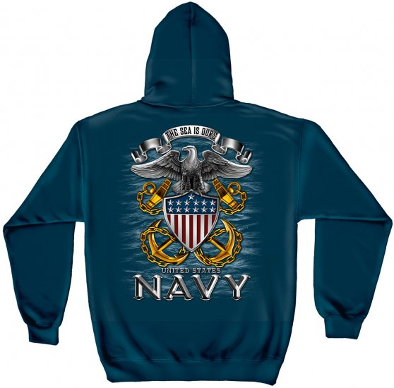 Hooded Sweat Shirts Navy Full Print Eagle