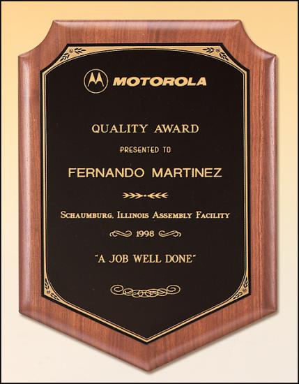 8 X 10 1/2 Solid American walnut plaque w/ a black brass plate