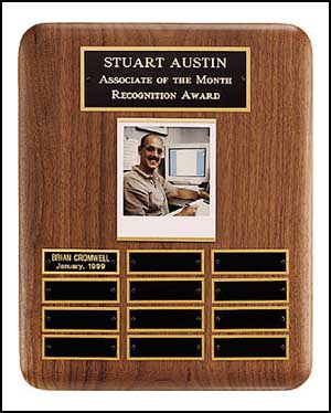 10 1/2 X 13 Solid American Walnut Airflyte Perpetual Plaque